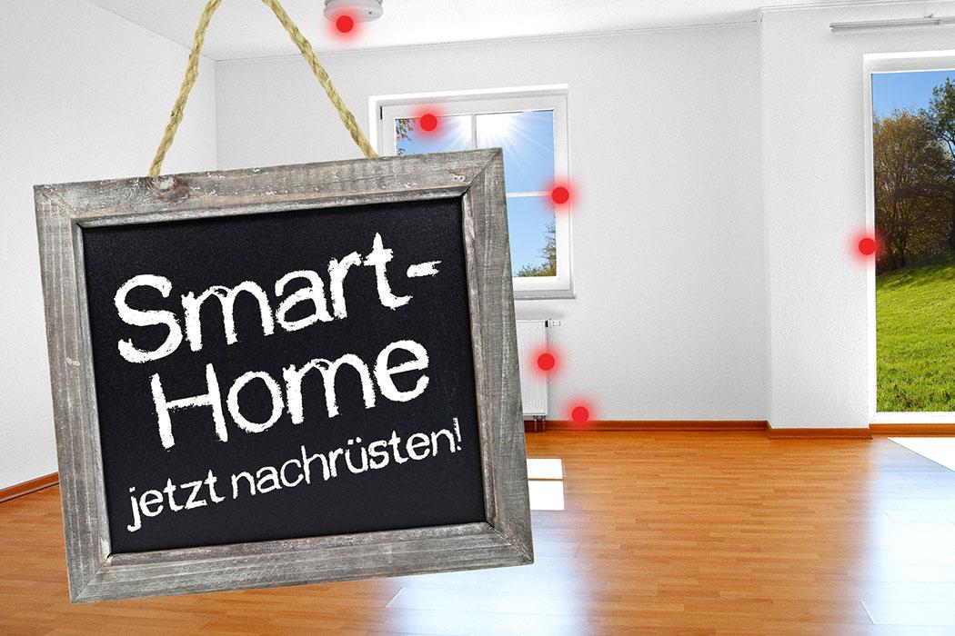 Kreidetafel mit Smarthome und Sensoren