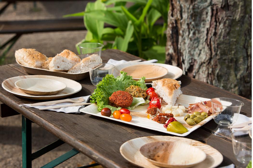 Palm-Geschirr fürs Picknick